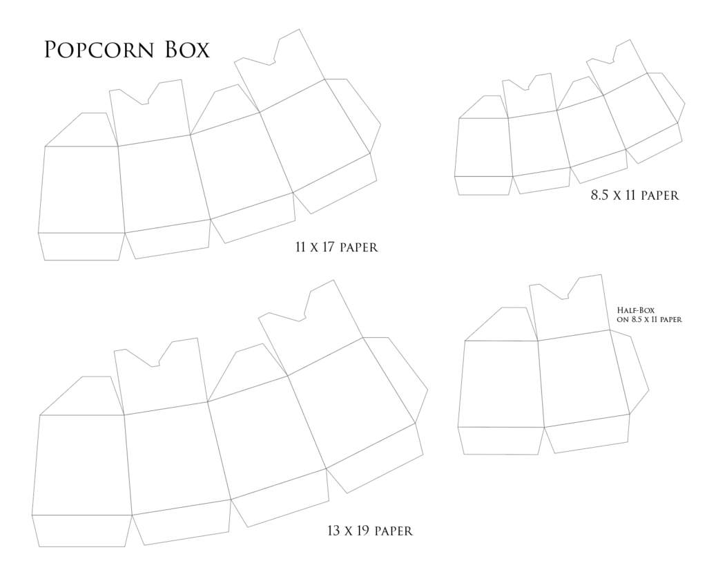 popcorn boxes in three sizes tutorial template creative layers